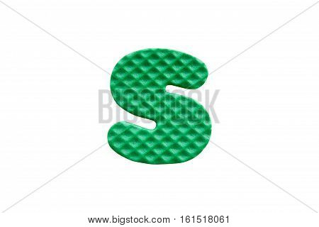Green Alphabet S Made From Eva Foam On White Background