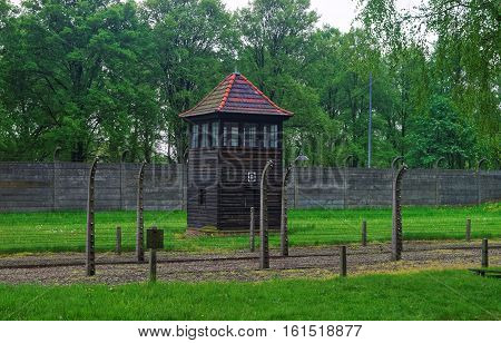 Oswiecim, Poland - May 2, 2014: Watch tower at Auschwitz concentration camp Poland.
