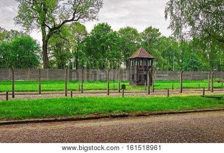 Oswiecim, Poland - May 2, 2014: Watch tower of Auschwitz concentration camp Poland.