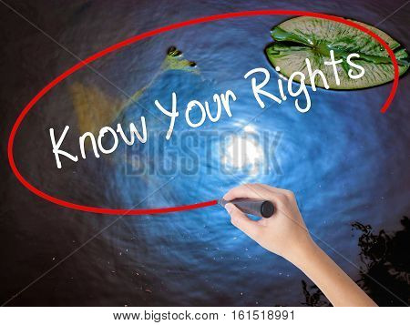 Woman Hand Writing Know Your Rights With Marker Over Transparent Board