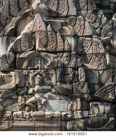Statue of Goddess on wall at Prasathinphimai in Thailand (Public location)
