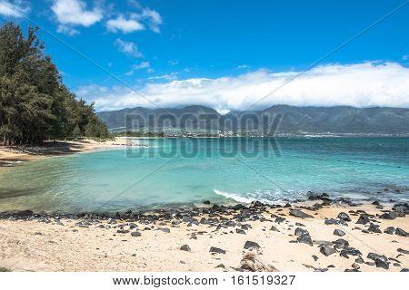 View of Kanaha beach at North Shore in Maui, Hawaii