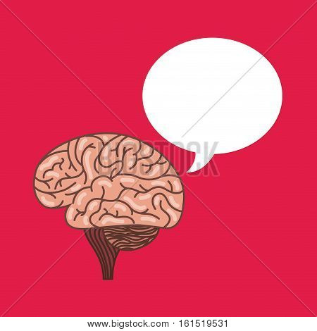 human brain and speech bubble icon over pink background. colorful design. vector illustraiton