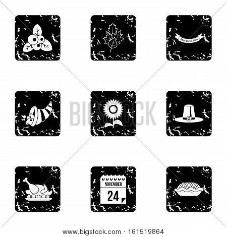 Autumn festival icons set. Grunge illustration of 9 autumn festival vector icons for web