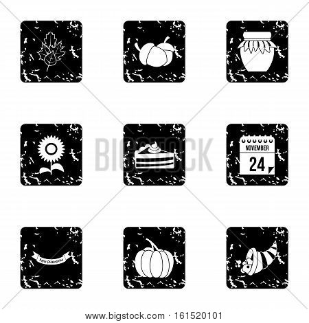 Gratitude celebration icons set. Grunge illustration of 9 gratitude celebration vector icons for web