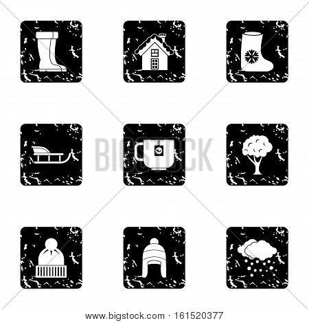 Season winter icons set. Grunge illustration of 9 season winter vector icons for web
