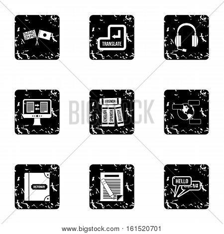 Language learning icons set. Grunge illustration of 9 language learning vector icons for web