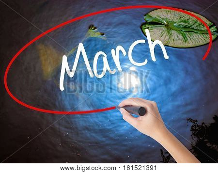 Woman Hand Writing March With Marker Over Transparent Board