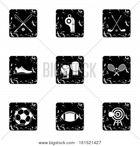 Sports stuff icons set. Grunge illustration of 9 sports stuff vector icons for web