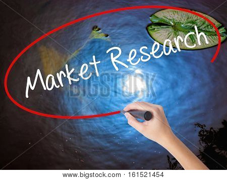 Woman Hand Writing Market Research With Marker Over Transparent Board.