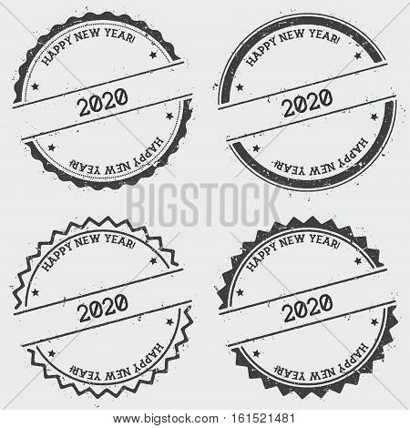 Happy New Year 2020 Insignia Stamp Isolated On White Background. Grunge Round Hipster Seal With Text