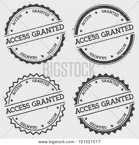 Access Granted Insignia Stamp Isolated On White Background. Grunge Round Hipster Seal With Text, Ink