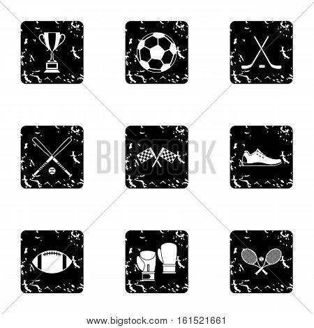 Training icons set. Grunge illustration of 9 training vector icons for web
