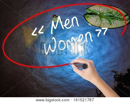 Woman Hand Writing Men - Women With Marker Over Transparent Board
