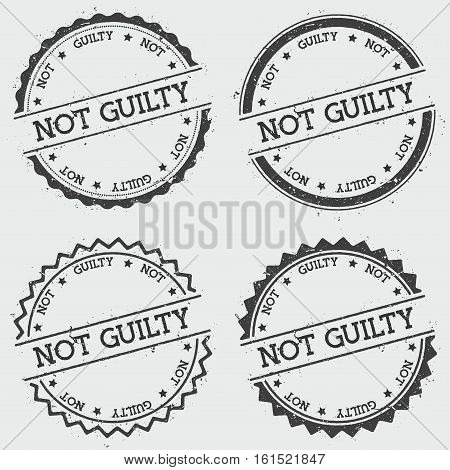 Not Guilty Insignia Stamp Isolated On White Background. Grunge Round Hipster Seal With Text, Ink Tex