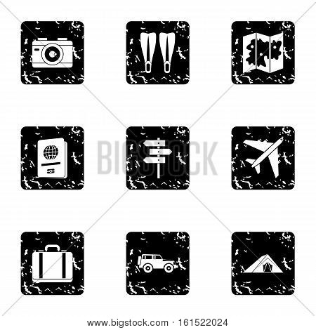 Trip to sea icons set. Grunge illustration of 9 trip to sea vector icons for web