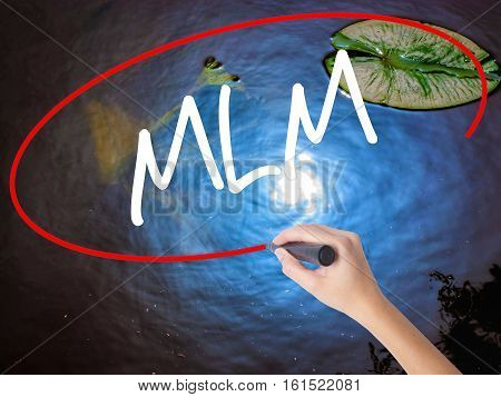 Woman Hand Writing  Mlm (multi-level Marketing) With Marker Over Transparent Board