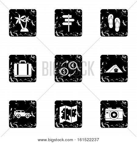 Travel to sea icons set. Grunge illustration of 9 travel to sea vector icons for web