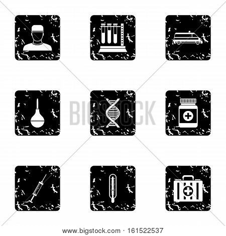 Treatment icons set. Grunge illustration of 9 treatment vector icons for web