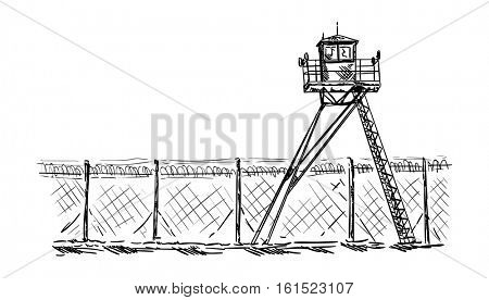 vector - Watch tower in prison, isolated on background