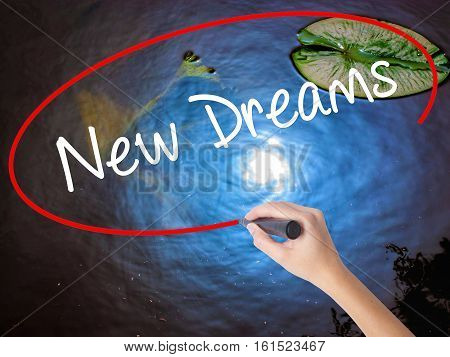 Woman Hand Writing New Dreams With Marker Over Transparent Board