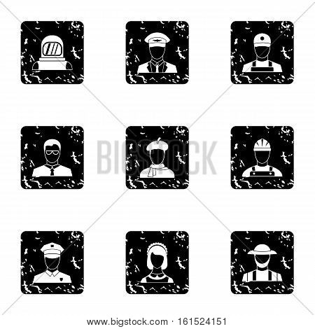 Occupation icons set. Grunge illustration of 9 occupation vector icons for web