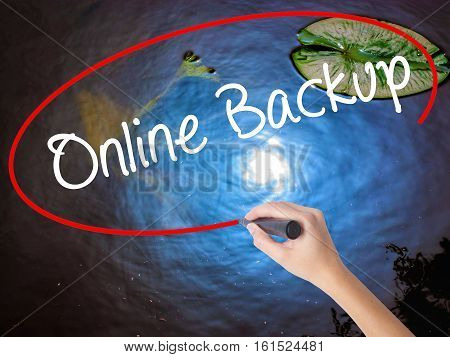Woman Hand Writing Online Backup With Marker Over Transparent Board.