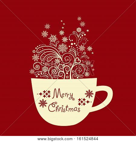 Greeting card with Christmas cup with design elements.
