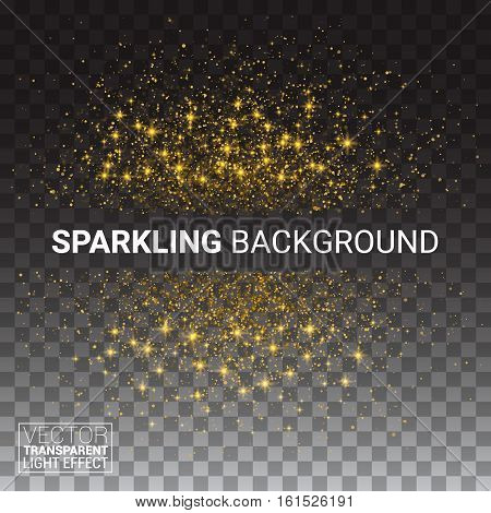 Vector luxury transparency background with gold sparklers template for your text. Glitter particles effect. Vector Illustration.