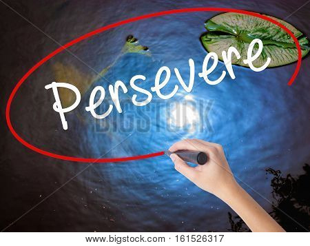 Woman Hand Writing Persevere With Marker Over Transparent Board.