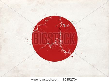 Flag of japan whit quake illustration. Earthquake and tsunami  causes severe damage to Japan on March 11, 2011
