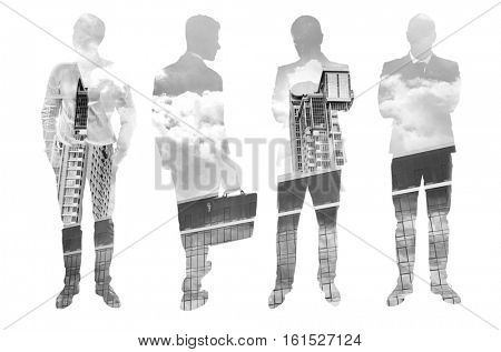 Double exposure of men silhouettes and cityscape background. Business concept. Black and white photo.