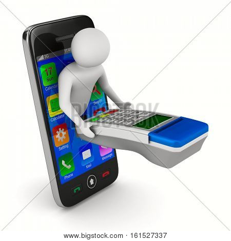 man with payment terminal on white background. Isolated 3d image