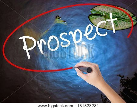 Woman Hand Writing Prospect With Marker Over Transparent Board