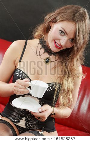 Coquette Girl With Cup Of Tea.