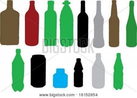various bottle types - vector