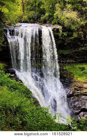 Dry Falls, in the Nantahala wilderness, Appalachian mountains, western North Carolina