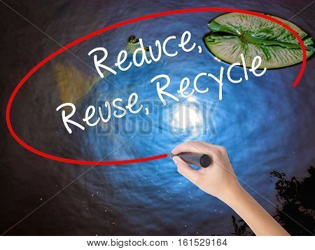 Woman Hand Writing Reduce Reuse Recycle With Marker Over Transparent Board.