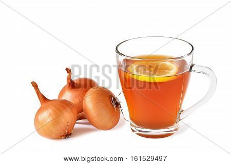 Onion tea for colds with lemon in glass mug isolated. Homemade folk remedy.