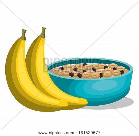 banana and cereal breakfast vector illustration design