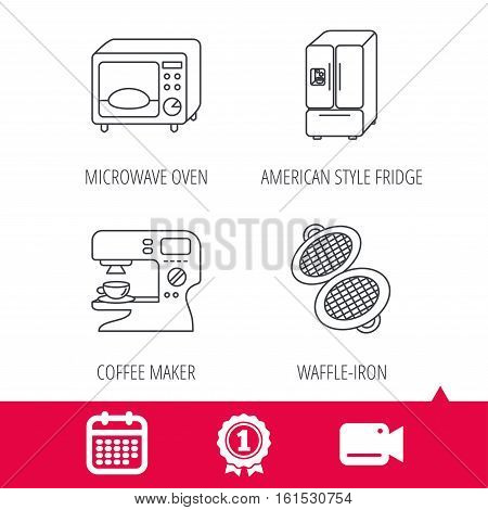 Achievement and video cam signs. Microwave oven, waffle-iron and American style fridge icons. Coffee maker linear sign. Calendar icon. Vector