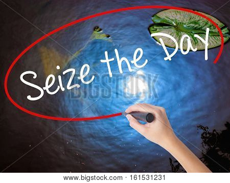 Woman Hand Writing Seize The Day With Marker Over Transparent Board.