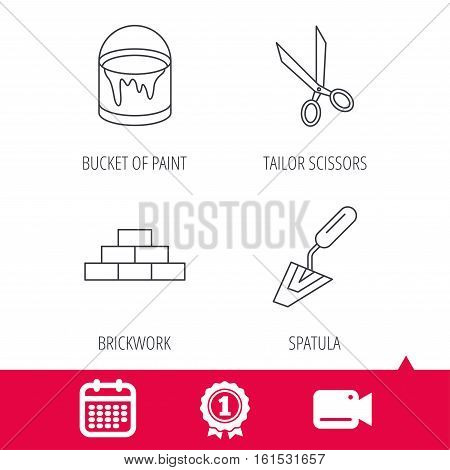 Achievement and video cam signs. Spatula, scissors and bucket of paint icons. Brickwork linear sign. Calendar icon. Vector