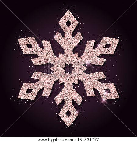 Pink Golden Glitter Wonderful Snowflake. Luxurious Christmas Design Element, Vector Illustration.