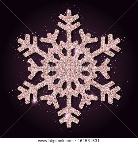 Pink Golden Glitter Remarkable Snowflake. Luxurious Christmas Design Element, Vector Illustration.