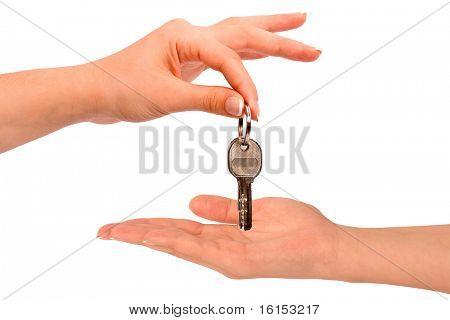 Woman passing door keys