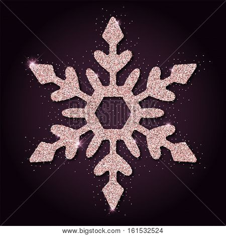 Pink Golden Glitter Appealing Snowflake. Luxurious Christmas Design Element, Vector Illustration.