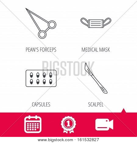 Achievement and video cam signs. Medical mask, capsules and scalpel icons. Peans forceps linear sign. Calendar icon. Vector