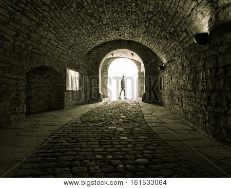 Dark Stone Streets  In An Old Town  And People