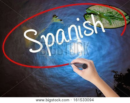 Woman Hand Writing Spanish With Marker Over Transparent Board